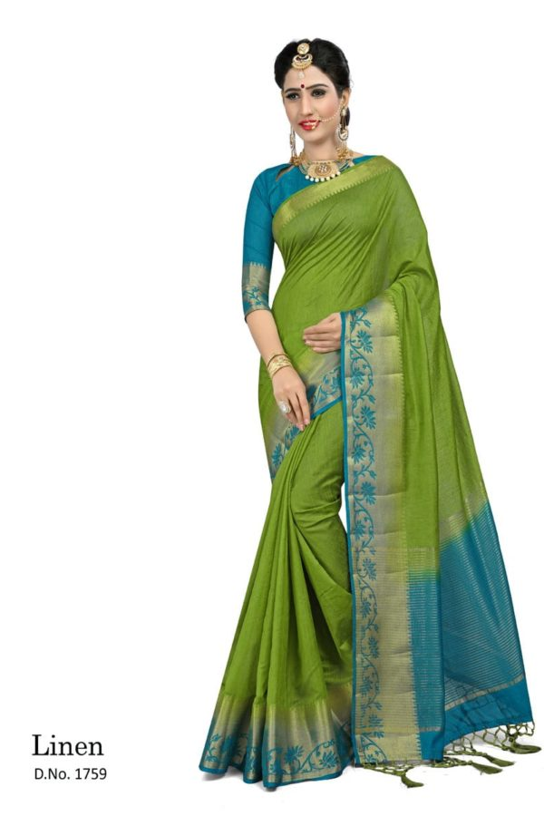Awosome Green And Blue Color Linen Fabric Saree-1759