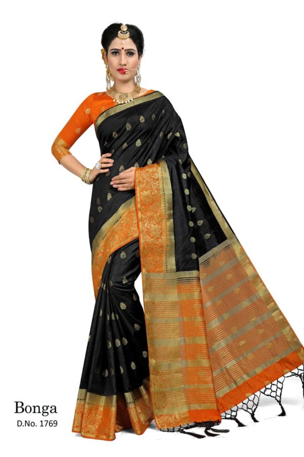 Majestic Black And Orange Color Bonga Fabric Saree-1769