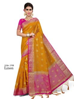 Outstanding Yellow And Pink Color Linen Fabric Saree-2708