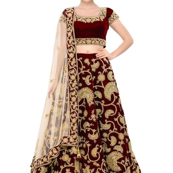 Stunning Maroon Color Machine Embroidered Wedding Wear Lehenga-341 Maroon