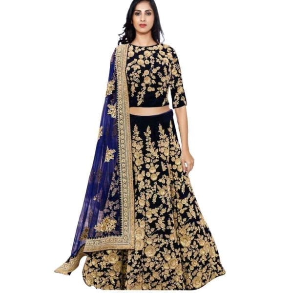 Amazing Navy blue dori work velvet lehenga choli -359 BLUE