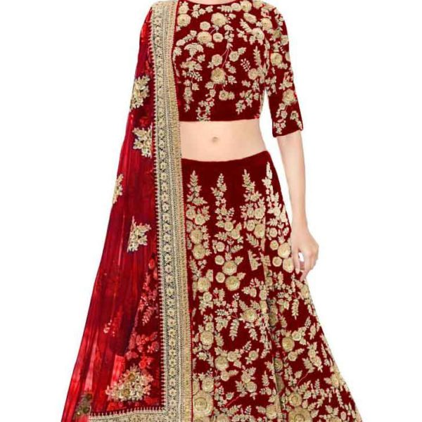 Adorable Maroon Color Velvet Embroidered Lehenga-359 Maroon