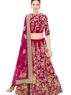 Beautiful Pink Color Embroidered Velvet Wedding Wear Lehenga-359 Pink