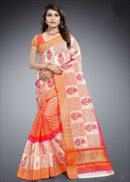 Orange And White Color Cotton Silk Casual Wear Saree-1013