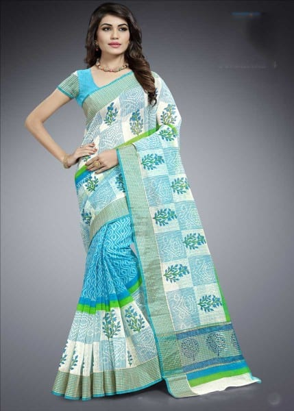 Sky Blue And White Color Cotton Silk Casual Wear Saree-1014