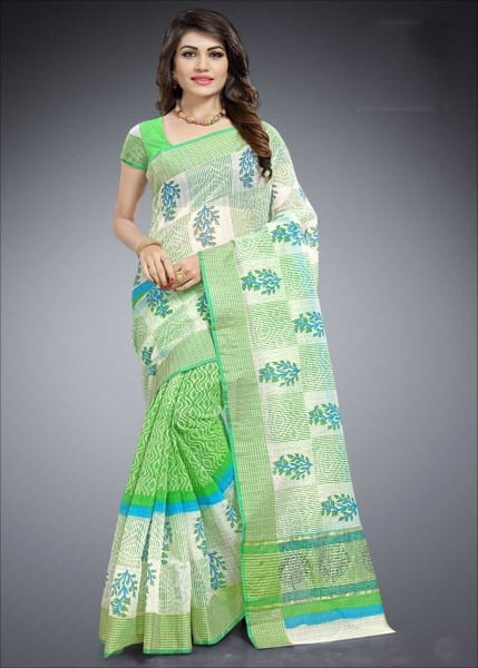 Green And White Color Cotton Silk Causal Wear Saree-1015