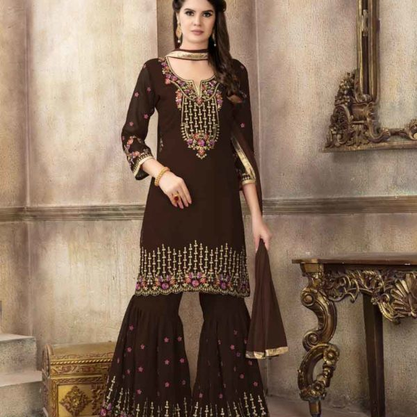Fanciful Brown Color Faux Georgette Embroidered Pakistani Suit-68002