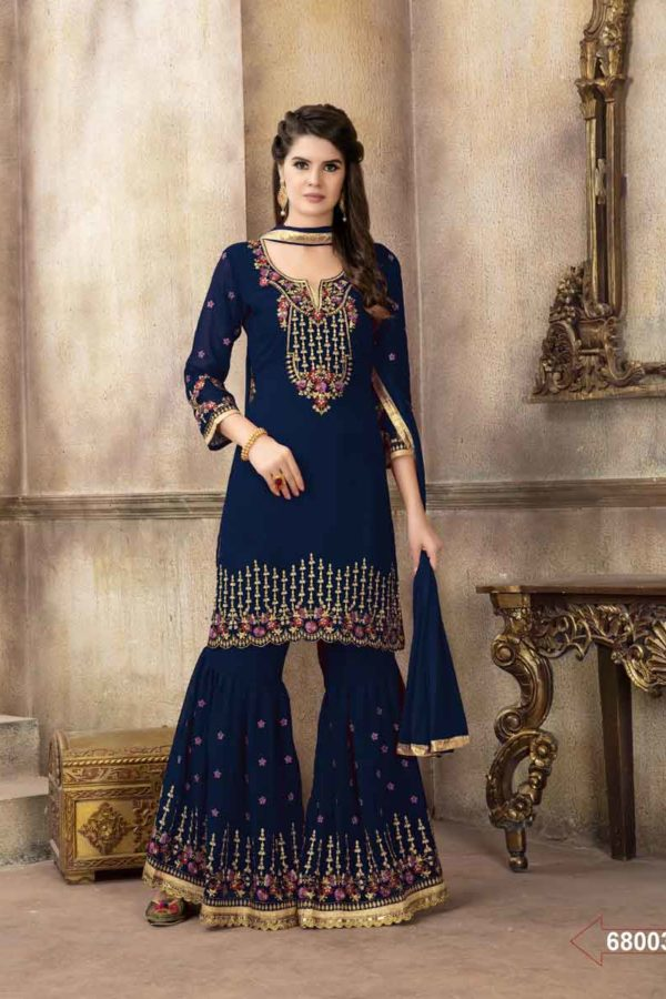 Gorgeous Navy Blue Embroidered Faux Georgette Pakistani Suit-68003