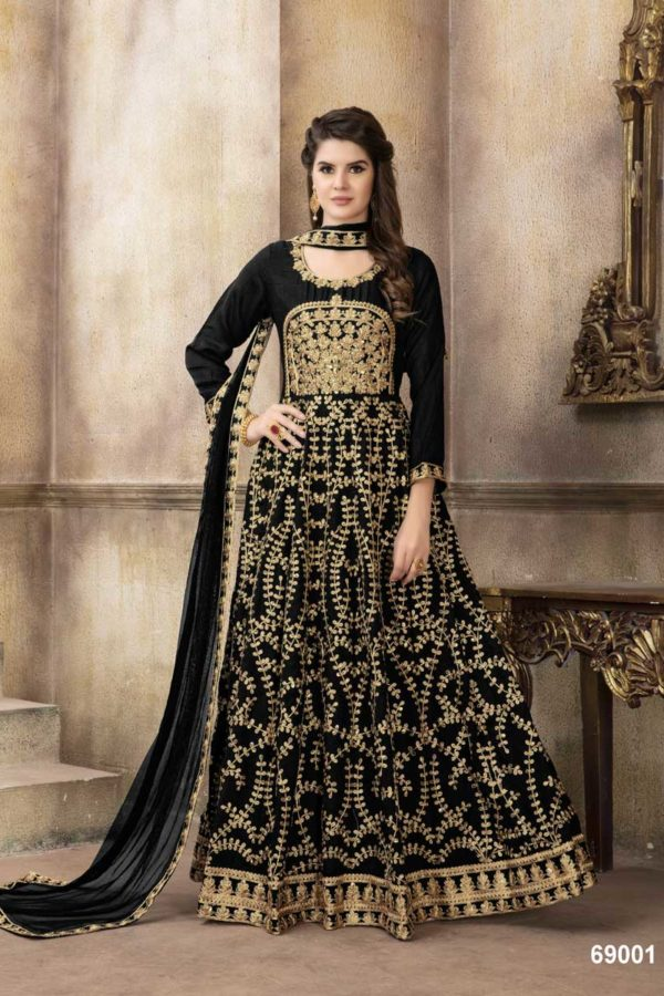 Rich Black Heavy Embroidered Art Silk Floor Length Anarkali Suit-69001