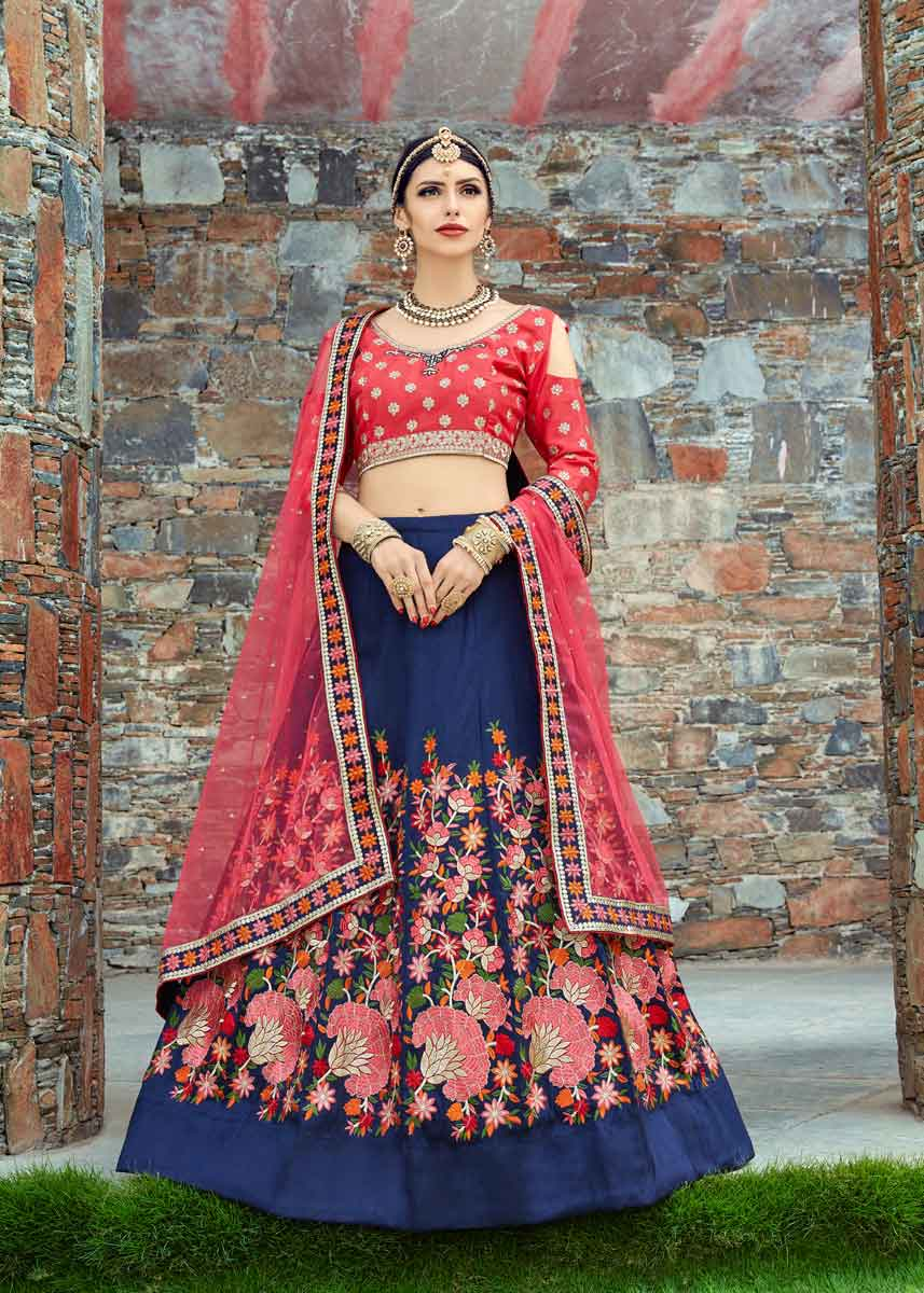 Navy Blue Color Floral Embroidered Mulberry Silk Lehenga-1001