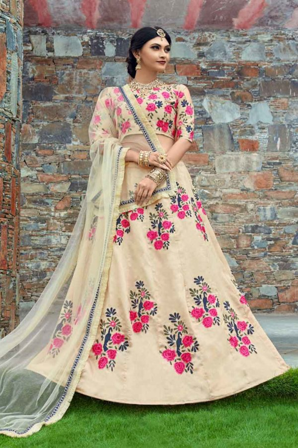 Stunning Cream Color Floral Embroidered Art Silk Lehenga-1002