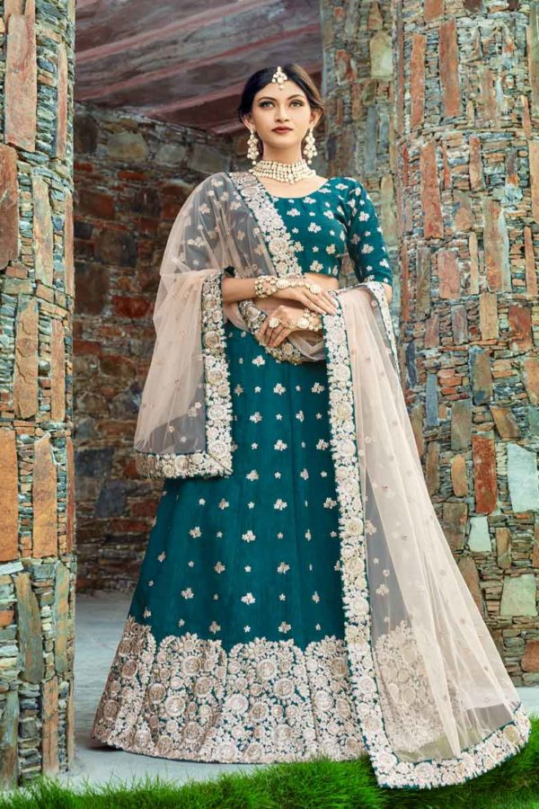 Dark Green Color Heavy Worked Art Silk Wedding Wear Lehenga-1003