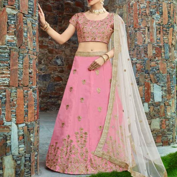 Baby Pink Color Embroidered Art Silk Engagement Wearing Lehenga-1004