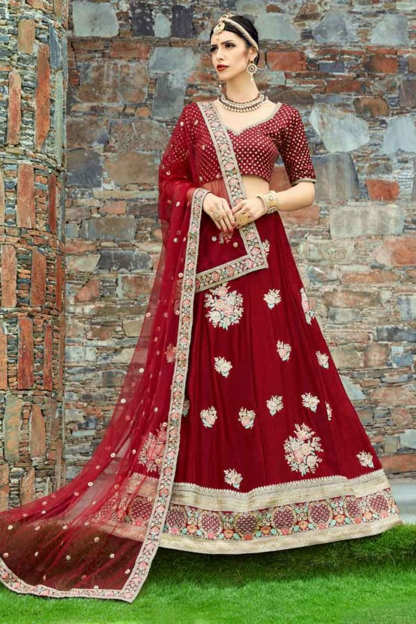 Outstanding Maroon Color Velvet Silk Embroidered Lehenga-1005