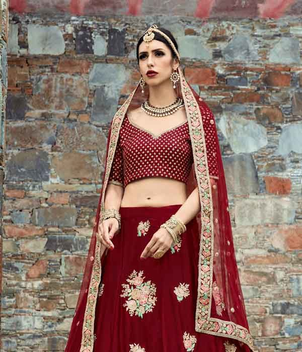 Outstanding Maroon Color Velvet Silk Embroidered Lehenga-1005 A