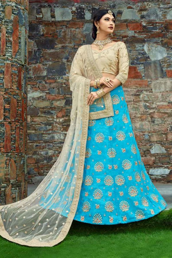 Sky Blue Color Floral Embroidered Art Silk Lehenga Choli-1006