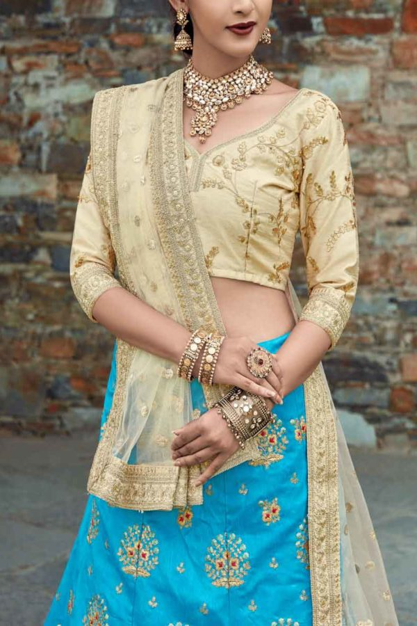 Sky Blue Color Floral Embroidered Art Silk Lehenga Choli-1006 A