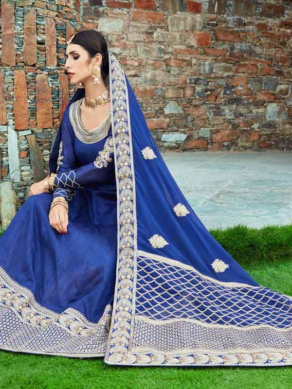 Regal Navy Blue Color Art Silk Floor Length Anarkali Suit-1007 A