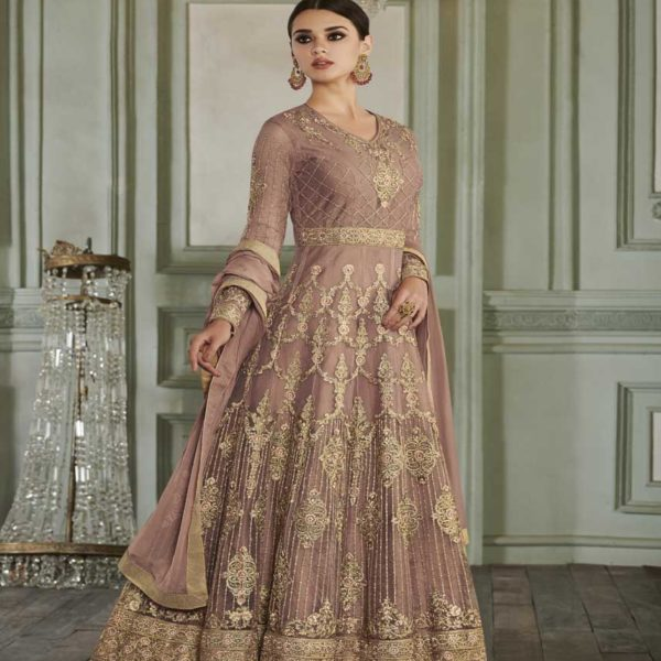 Rose Gold Color Butterfly Mono Net Floor Length Anarkali Suit-27011