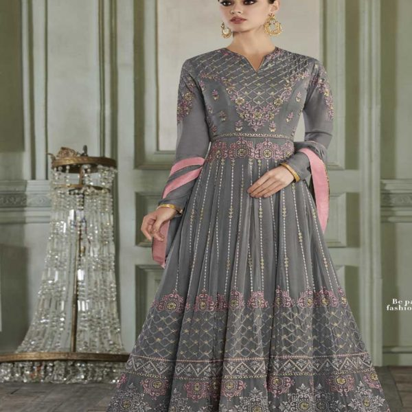 Grey Color Embroidered Apple Georgette Party Wear Anarkali Suit-27013