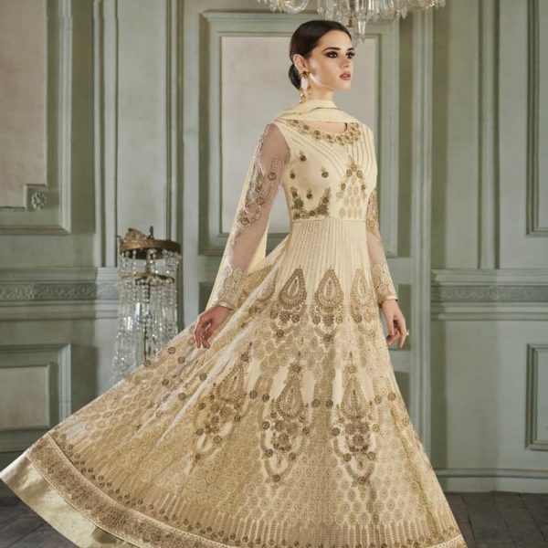 Cream Color Heavy Embroidered Butterfly Mono Net Anarkali Suit-27014