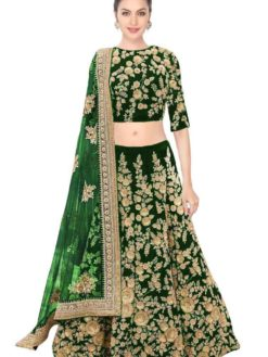 Elegant Green Color Wedding Wear Heavy Embroidered Velvet Lehenga GREEN