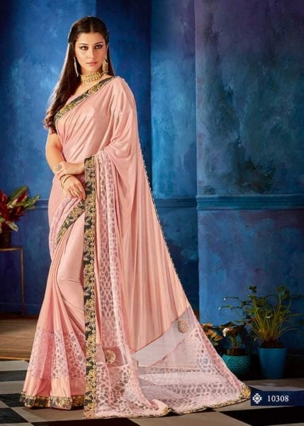 Dazzling Pink Color Lyrca Jewel Lace Party Wear Saree-10308