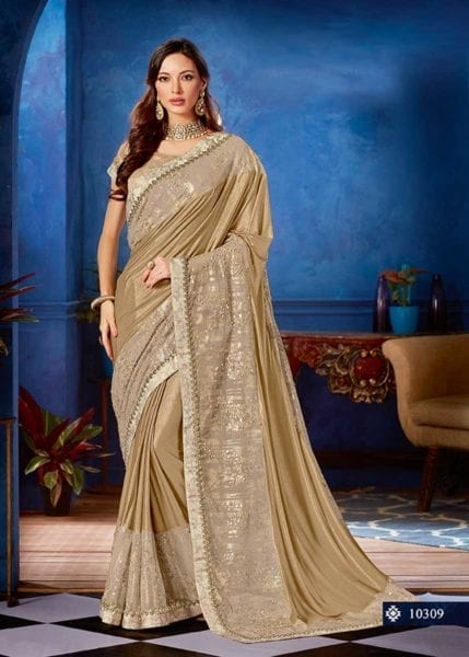 Exclusive Beige Color Lyrca Sequins Embellishment Saree-10309