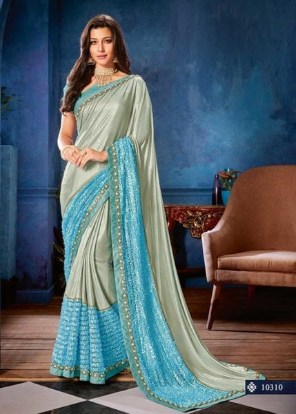 Elegant Sky Blue Color Lyrca Jewel Lace Party Wear Saree-10310
