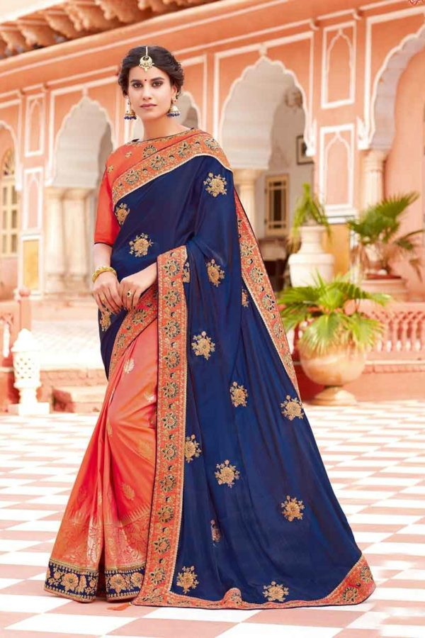 Orange And Blue Color Weaved Silk Embroidered Party Wear Saree-12817