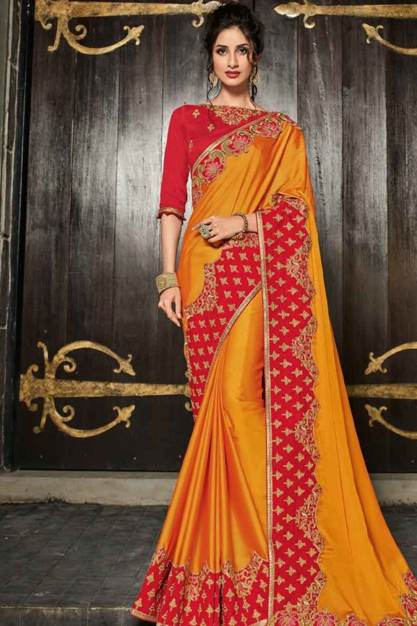 Gorgeous Orange Color Heavy Embroidered Bright Georgette saree-30502