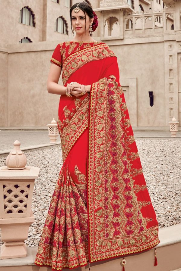 Amazing Red And Gold Color Two Tone Silk Satin Saree-11007