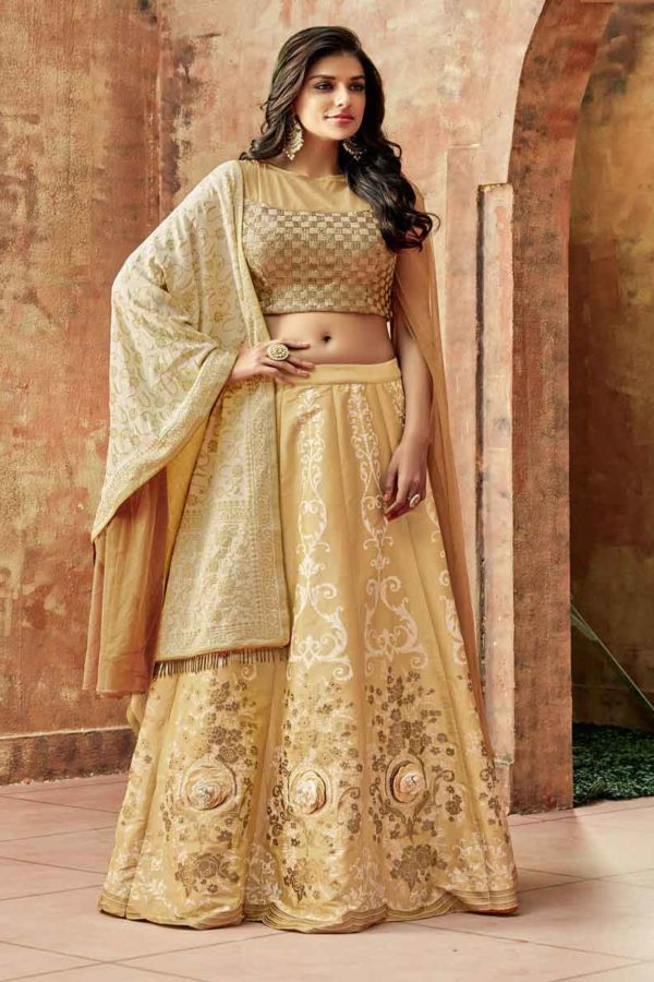 Latest Beige Color Zari Embroidery Silk Lehenga-7721