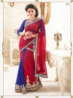 Red And Blue Color Embroidered Net And Satin Lehenga Saree-3221
