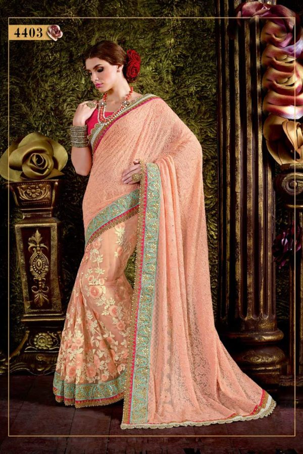 Beautiful Peach Color Georgette And Net Floral Embroidery Saree-4403