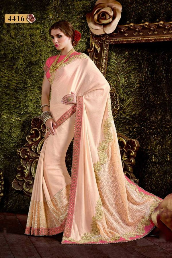 Exclusive Peach Color Jacquard Velvet And Chiffon Hand Work Saree-4416