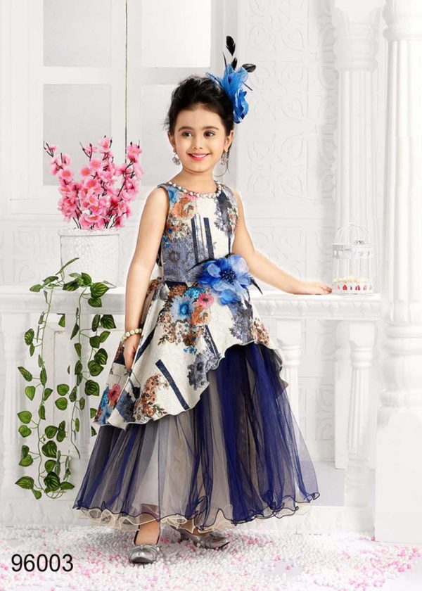 Amazing White Color Floral Design Crape And Net Kids Frock-96003