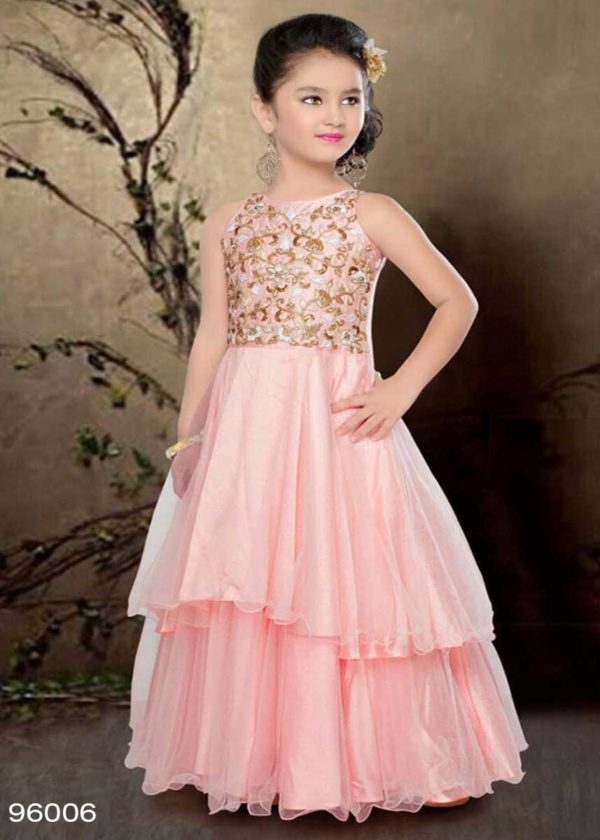 Gorgeous Pink Color Embroidery Net Kids Frock-96006