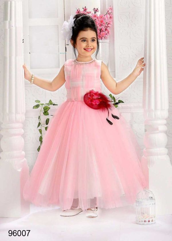 Designer Pink Color Flower Broach Net Kids Doll Frock-96007