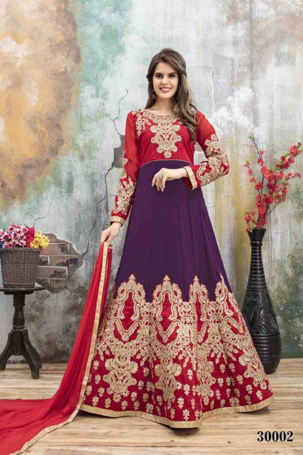 Purple And Red Color Embroidery Faux Georgette Party Wear Suit-30002