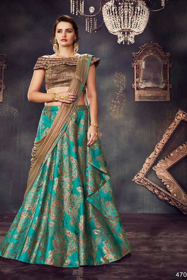 Rama Green And Brown Color Fancy Brocad Fancy Lehenga Choli-4709