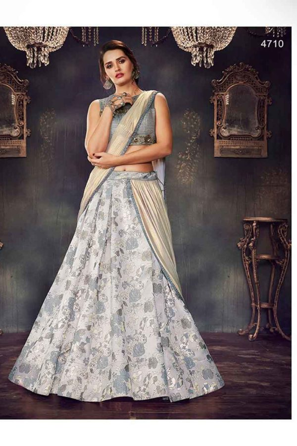 Grey Color Floral Printed Fancy Brocade Designer Lehenga Choli-4710