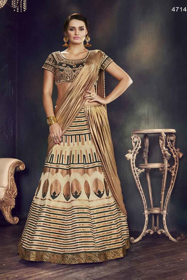 Brown And Cream Color Thread Work Raw Silk Lehenga Choli -4714