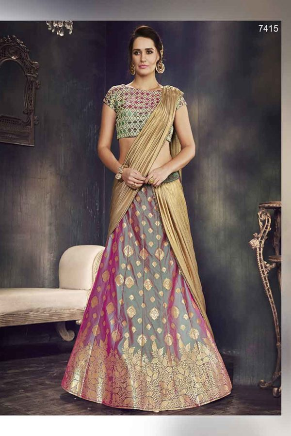 Multi Color Two Tone Silk Embroidery Lehenga Choli-4715