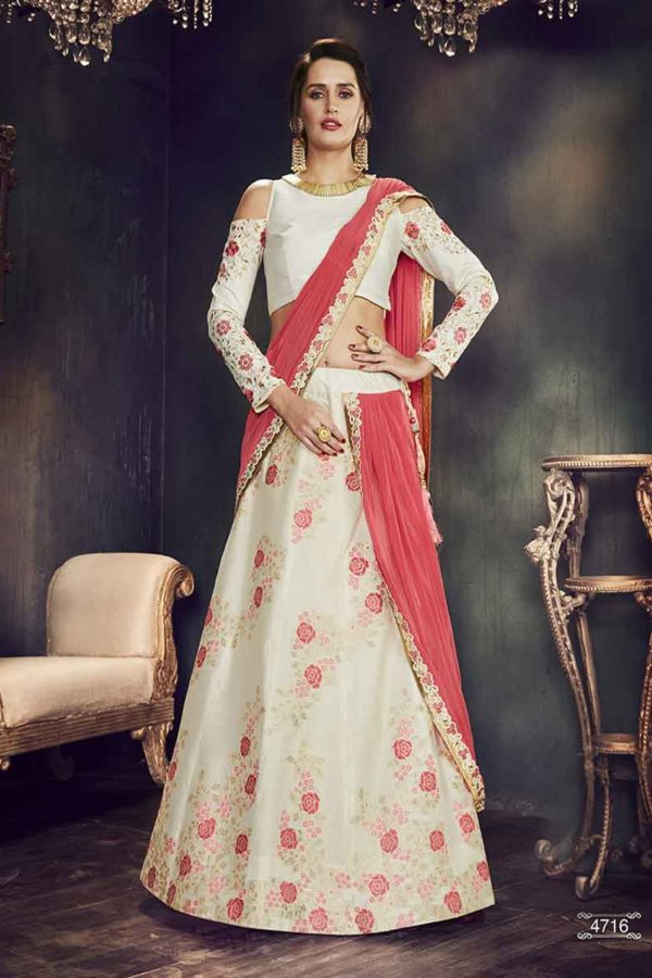 Stunning White Color Floral Print Weaved Silk Lehenga Choli-4716