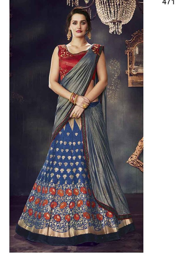 Blue And Red Color Zari Work Weaved Silk Lehenga Choli -4717