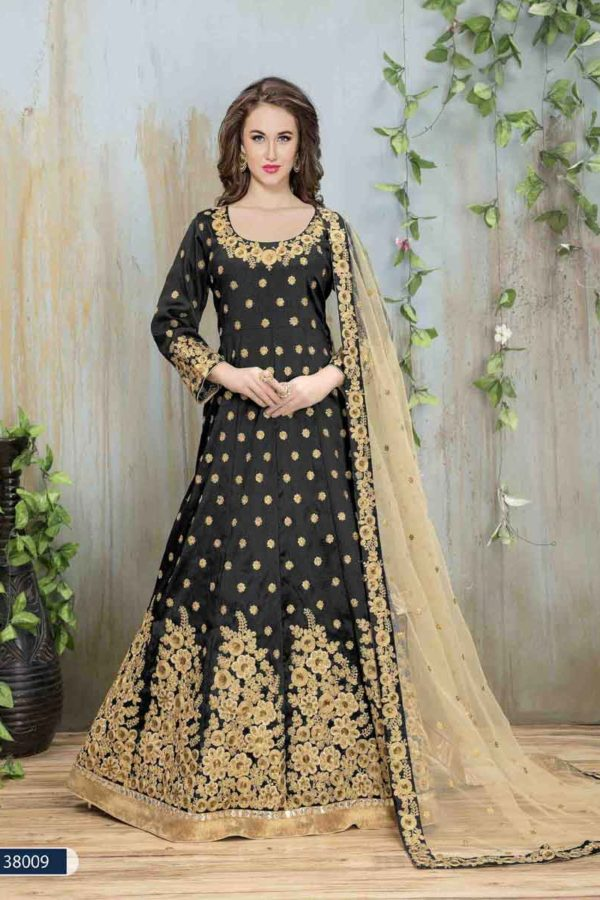 Rich Black Color Embroidery Mulberry Silk Anarkali Suit-38008