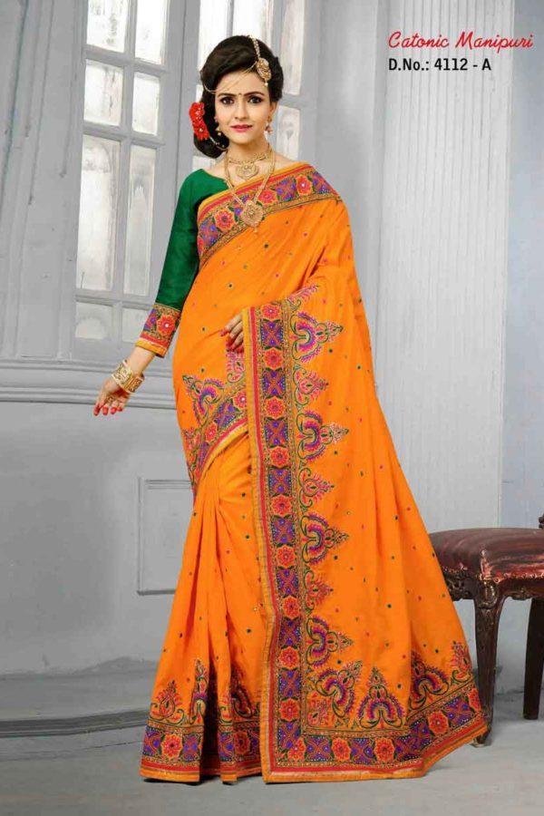 Orange Color Manipuri Silk Resam Work Saree-4112-A