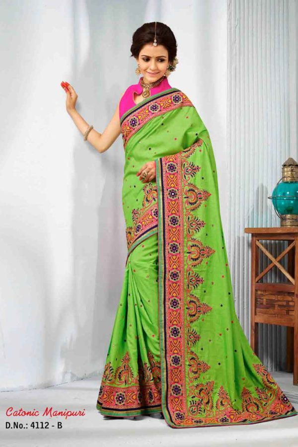 Green Color Manipuri Silk Resam Work Saree -4112-B