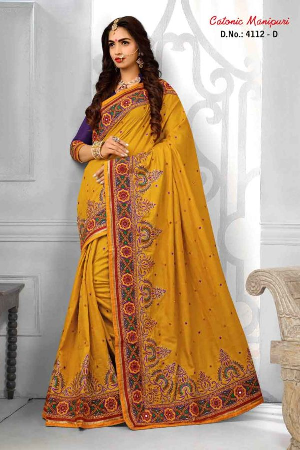 Yellow Color Manipuri Silk Resam Work Saree -4112-D